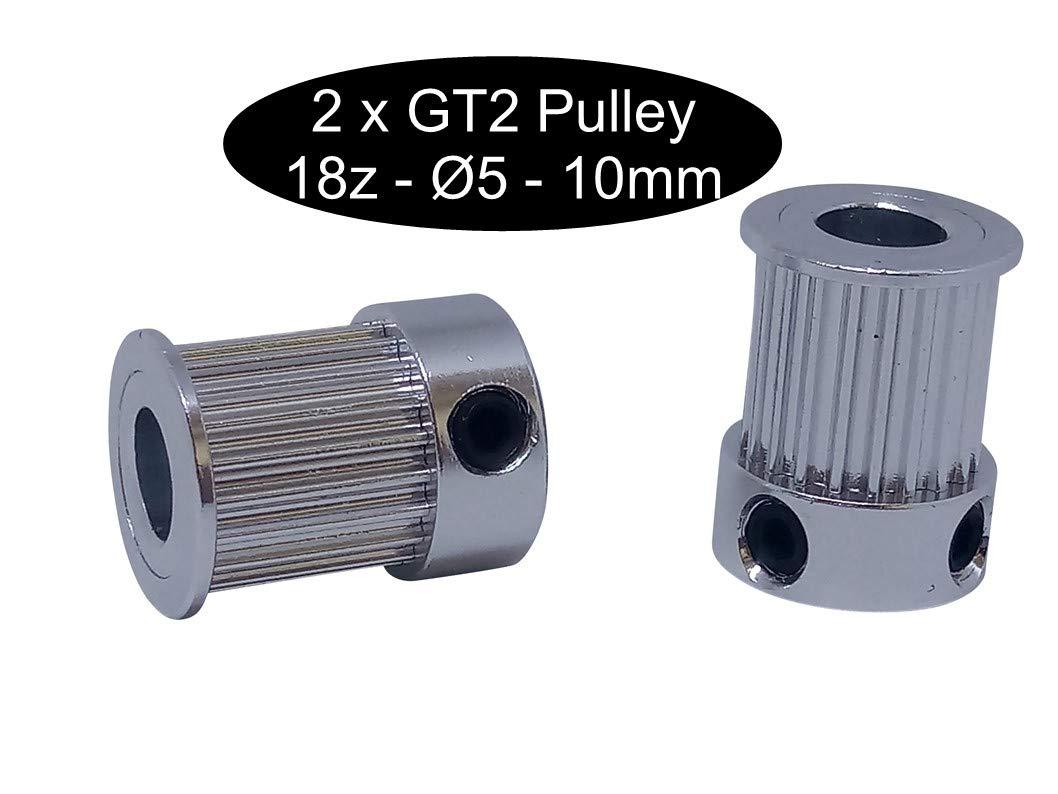 Lot de 2 poulies GT2 de 10 mm de largeur 12, 16, 18 ou 20 dents, largeur au choix, GT2 12Z Ø5mm, 1