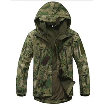 90330ec85729e Waterproof Military Tactical Combat Softshell Jacket Outdoor Camping Hiking  Camouflage Hoodie Coat (Ruins Green, L): Amazon.ca: Sports & Outdoors