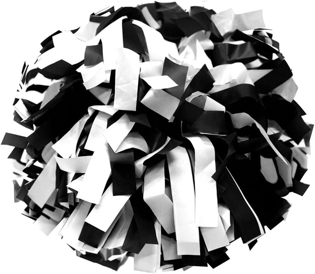 Negro//Blanco Animadoras Pompones de pl/ástico color con batuta mango Par