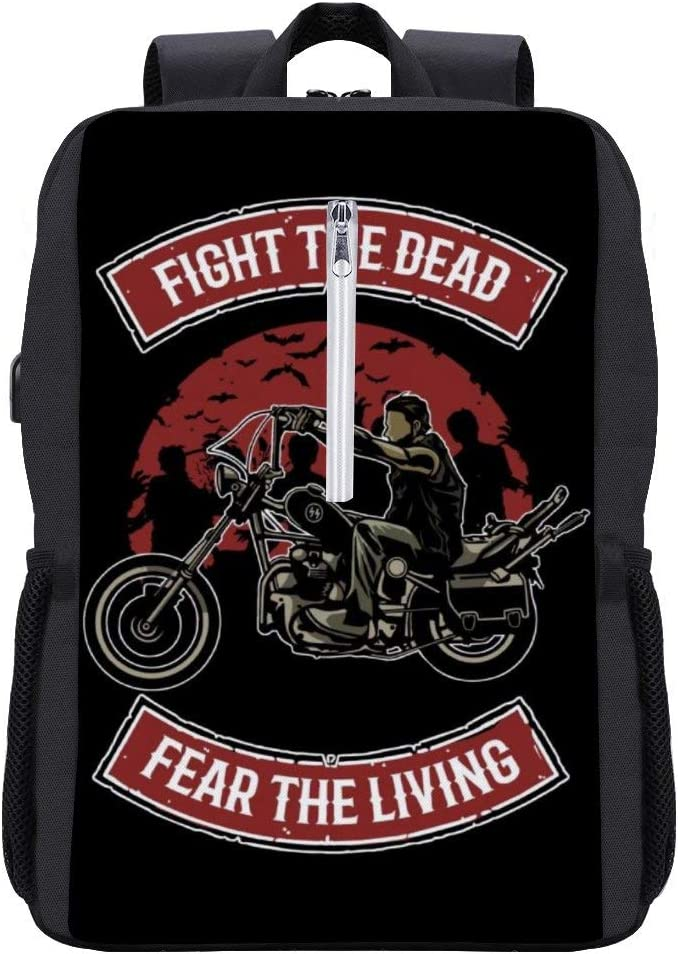 Walking Dead Daryl Dixon Fight The Dead Fear The Living Backpack Daypack Bookbag Laptop School Bag with USB Charging Port