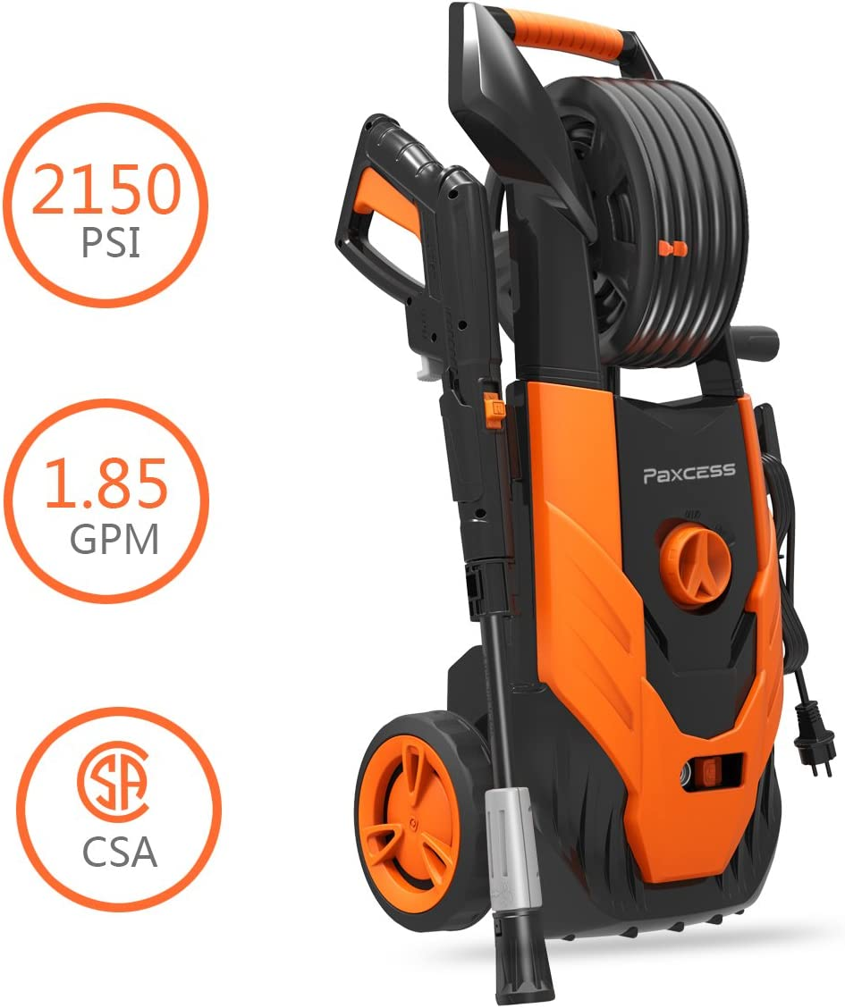 PAXCESS Electric Pressure Washer, 2150 PSI 1.85 GPM Electric Power Washer with Spray Gun, Adjustable Nozzle,26ft High Pressure Hose, Hose Reel