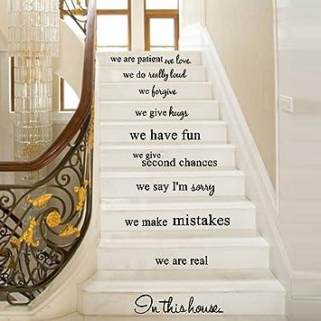 Pegatinas de pared para decoración de escaleras, diseño artístico, autoadhesivo removible, adhesivo de vinilo 3D para
