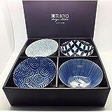 Tokyo Design Studio, Bol en porcelaine motif Floral Blue - Coffret de 4, Diamètre: 13.5cm