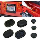 Floor Pan Drain Stopple Tailgate Rear Door Stopper Removable Black Durable Rubber Stopple Protector for Wrangler 2007…