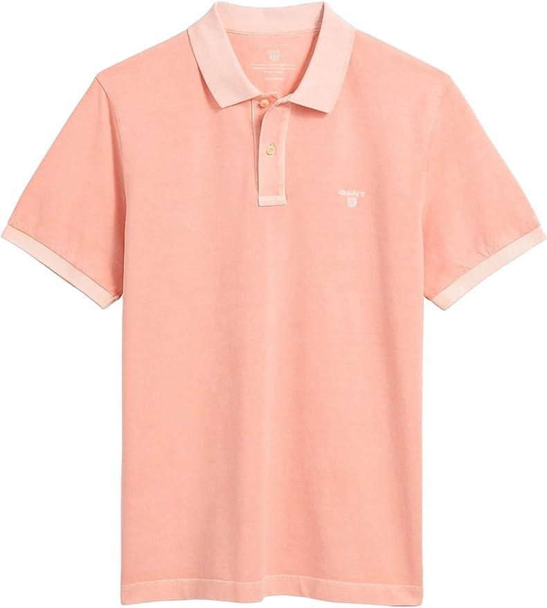 GANT Hombres Piqué de algodón Sunbleached Camisa de Polo Naranja ...