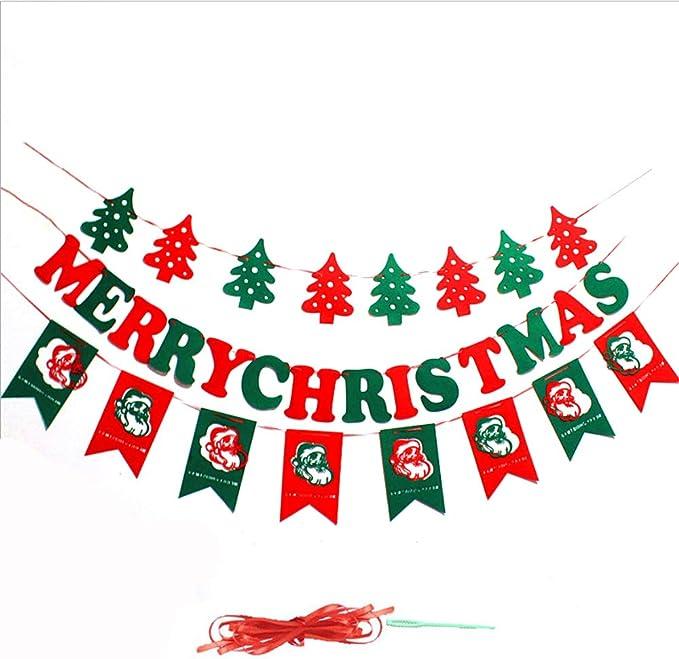 Amaoma Navidad Adornos Banner Carta Navidad Cartel Colgante Decoración Bandera Fiesta Adornos Navidad Santa Claus Arbol de Navidad Bandera Decoración Navideña en Interiores y Exteriores 3 Pack