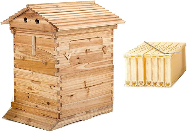 Bee Hive 3 Layers For 7 Auto-Flow Honey Frame Wooden Beehive Upgraded Beekeeper
