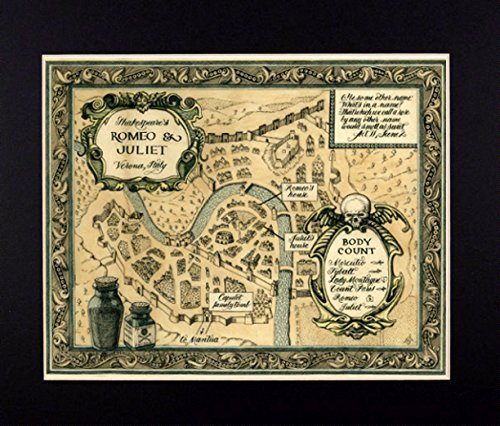 Map of Shakespeare's Romeo and Juliet Fine Art Print Reproduction (English Reproduction)