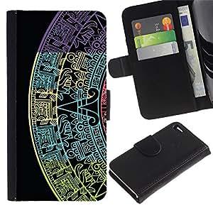 iKiki Tech / Cartera Funda Carcasa - Star Calendar History Ancient Black - Apple iPhone 4 / 4S
