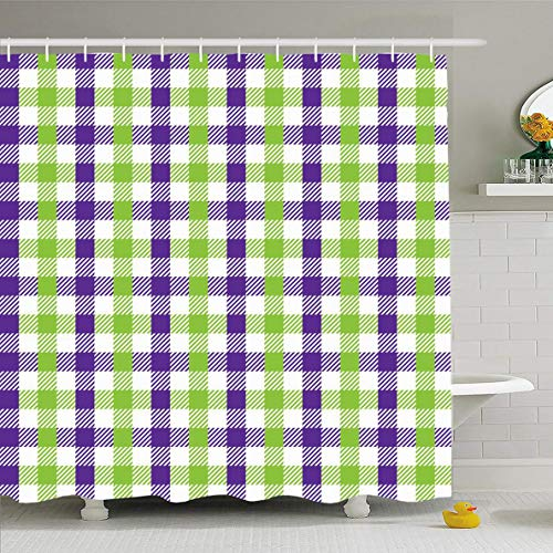 Ahawoso Shower Curtain 72x78 Inches Green Purple Celebration Multicolour Gingham Pattern Lime Unusual Abstract Check Checkered Chevron Waterproof Polyester Fabric Bathroom Curtains Set with Hooks ()