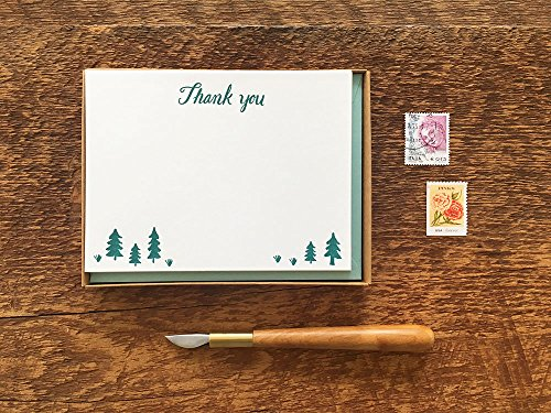 Thank You Pine Trees, Thank You Cards, Boxed Set of 8 Letterpress Flat Note Cards, Blank Inside