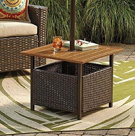 Marvelous Patio Umbrella Stand Wicker And Steel Side Table Base Holder For Patio  Furniture Outdoor Backyard Pool