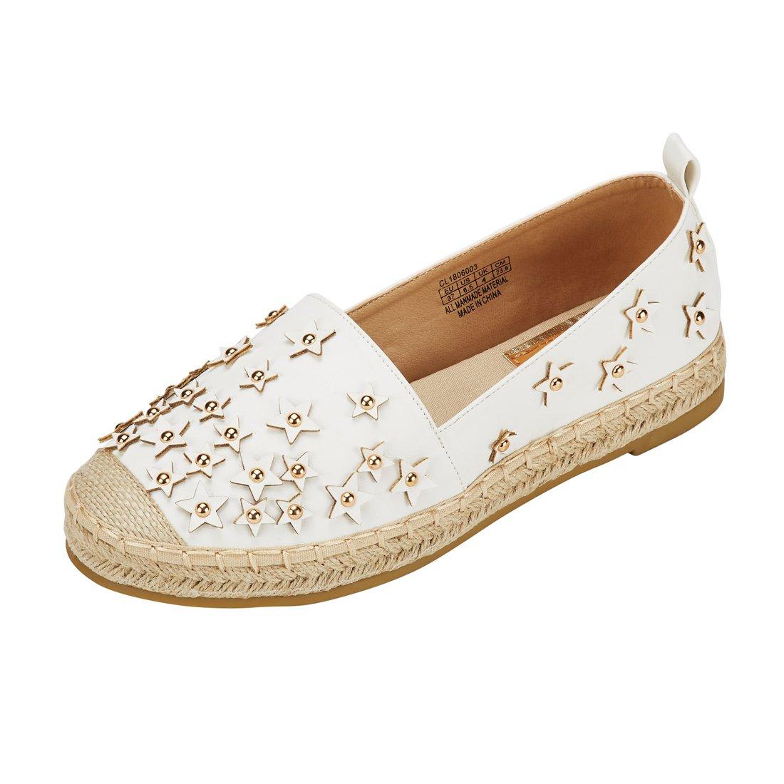 JENN ARDOR Women's Espadrilles Casual Flats Classic Slip-On Comfort Canvas Shoes with Glitter Bead,9 B(M) US (25.1CM),White Pu
