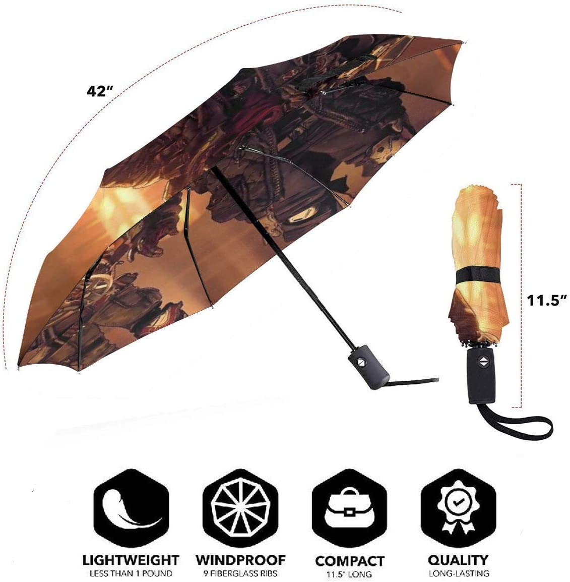 Borderlands 3 Characters 3D Pattern PG Cloth Lightweight Foldable Tri-fold Umbrealla For Rain Sunshade Anti-UV,Qucik-dry Wind Resistance Automatic Umbrellas