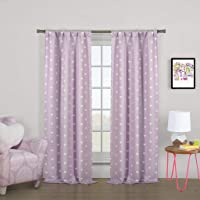 Lala + Bash Printed Heart Pattern Blackout Room Darkening Pole Top Window Curtains Pair Panel Drapes for Bedroom, Living Room - Set of 2 Panels -
