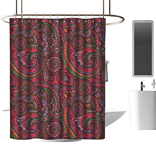 Polyester Fabric Shower Curtain Asian,Pattern Based on Traditional Asian Vintage Stylized Twists Lines Spirals, Dark Coral Orange Green,Washable,Durable ,Brick Dobby Pattern for Bathroom ()
