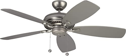 Monte Carlo 5LCM52BP Protruding Mount, 5 Silver Blades Ceiling fan, Brushed Pewter
