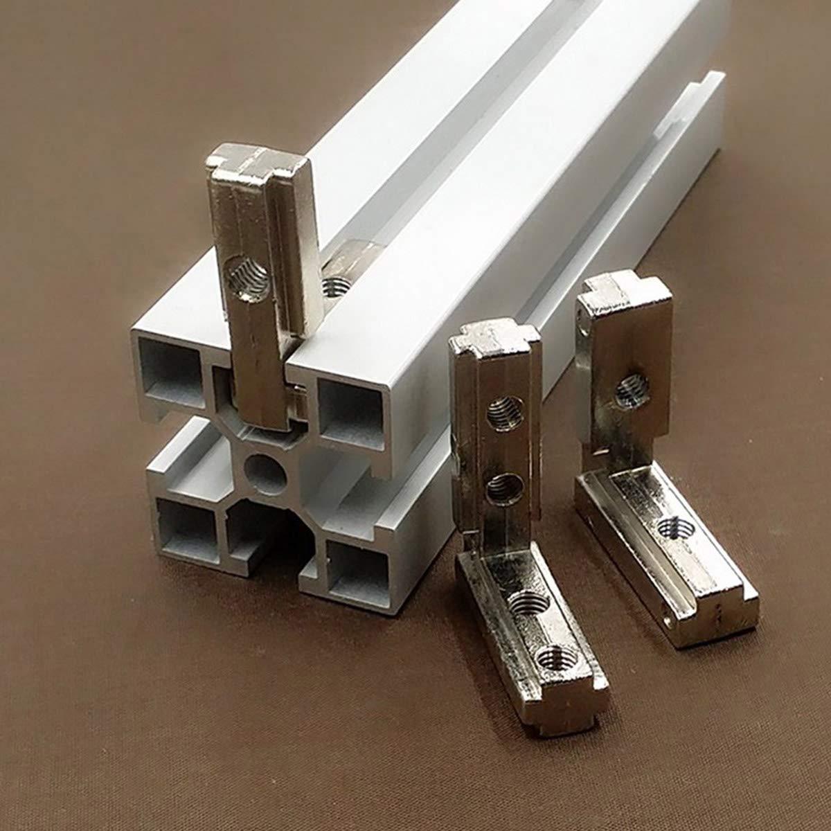 Mengger 20pcs Staffa Angolare T Slot Profilo in Alluminio Staffe a Forma di L Carbonio Connettore dAngolo Interno da 90 Gradi Tono dArgento UE standard 2020