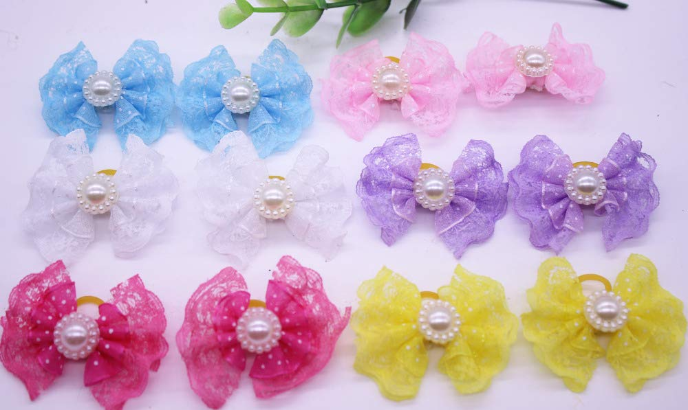 100pcs lot Dog Lace Hair Bows Pet Hair Clips with Pearl Bowknot Dog Hairpins Pet Hair Accessories Pet Grooming Products