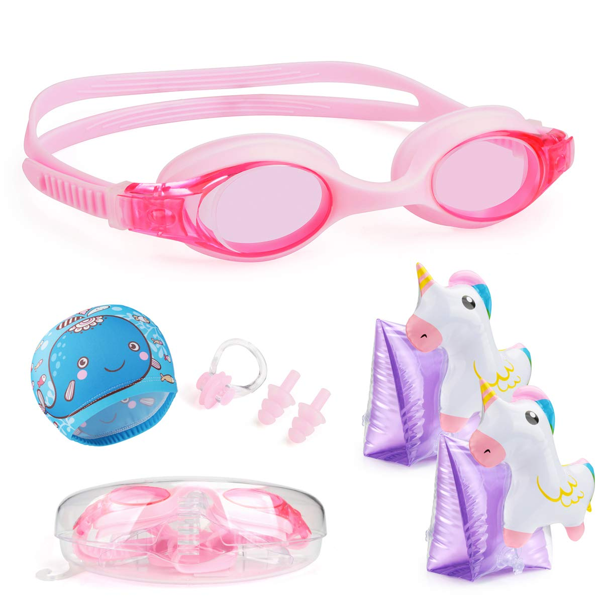 Ear Plugs Case Clear Vision Anti-Fog UV Protection Nose Clip Keegud Kids Swim Goggles,6 in 1 Swimming Goggles for Kids Swim Cap Age 3-8 + Inflatable Swim Arm Bands