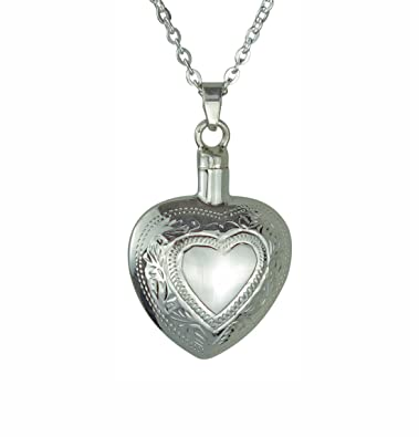 Solid Silver Small Heart Cremation Ashes Urn Pendant Necklace tAU5M2ewEg
