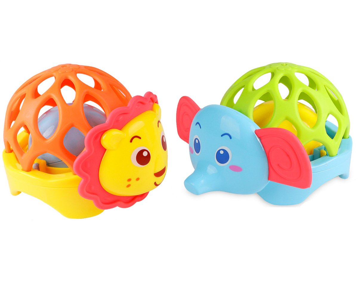 LaChaDa Baby Rattle Teether Toys Animal Shaker Grab Rattle Set Early Educational Development Interactive Toys Gift for Babies Infant, Lion and Elephant