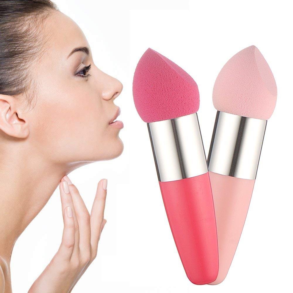 Éponges de Maquillage, 2pc Chic brosse a fond de teint a Creme pinceau de Maquillage brosses cosmetiques pour Liquide en eponge Brosse,Ruwhere