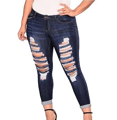 99d0a95743f7e Huateng Ladies Plus Size Stretch Denim Pants Womens Leggings Denim Jeggings  Trousers: Amazon.co.uk: Clothing