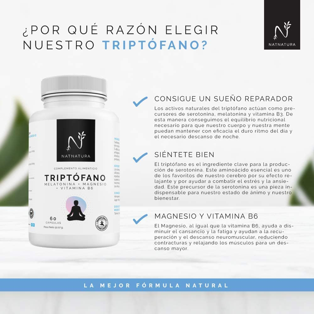 TRIPTÓFANO + Magnesio + Melatonina + Vitamina B6. Suplemento ...