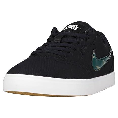 Nike SB Check Canvas Kids. Black/Medium Olive/Pro Green.