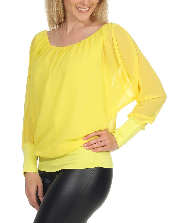 Malito dam chiffong lång ärm blus   tunika med breda ärmar   blusskjorta med bred kant   elegant - elegant 6291 GUL