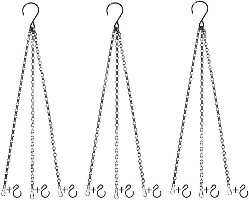 Uarepretty 3 Sets Hanging Chains for Planters, Lanterns Ornaments Bird Feeders, Billboards, Chalkboards, Fixtures, Suet Baskets, Wind Chimes, Indoor and Outdoor, 24 inches Black