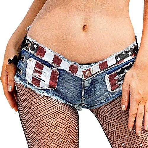Yollmart Women Sexy Cut Off Low Waist Denim Jeans Shorts Mini Hot Pants-US-M