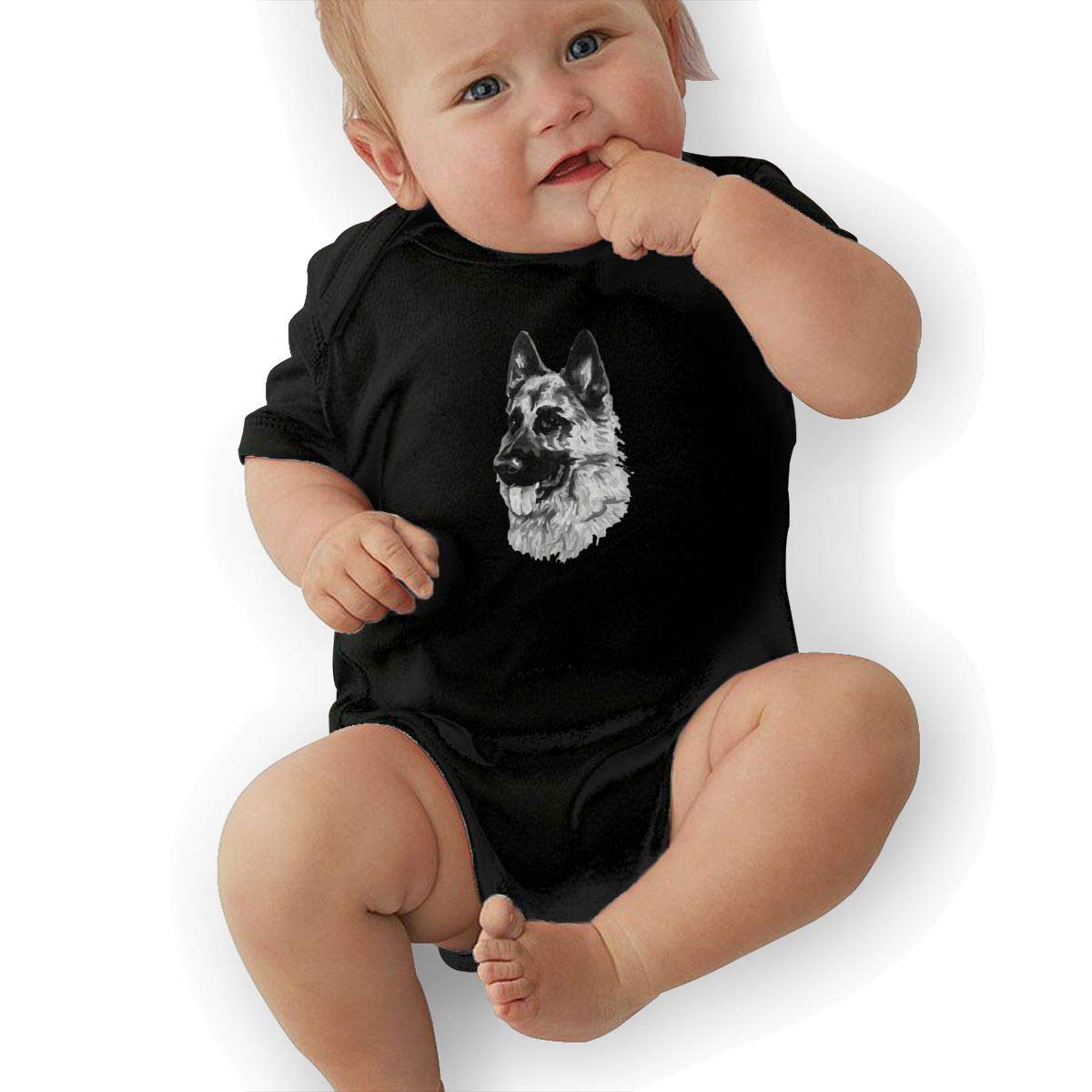 HappyLifea German Shepherd Dog Baby Pajamas Bodysuits Clothes Onesies Jumpsuits Outfits Black