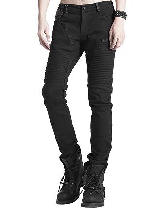 2d3905285d Punk Rave Mens Dieselpunk Jeans Pants Black Gothic Steampunk Biker Trousers:  Amazon.co.uk: Clothing
