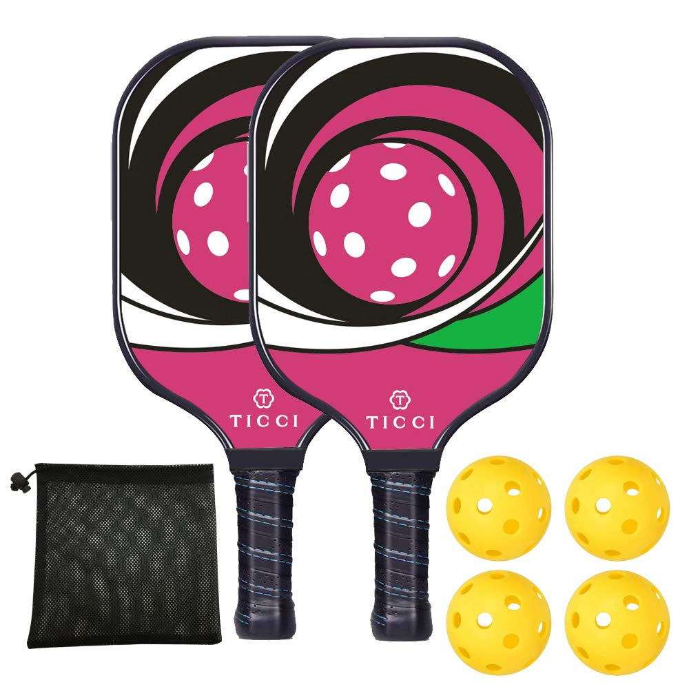 TICCI Pickleball Paddle Set Fiberglass Face Pickleball Racket Lightweight Honeycomb Composite Core Pickleball Racquet Set Includes 2 Paddles + 4 Balls(Purple) by T TICCI