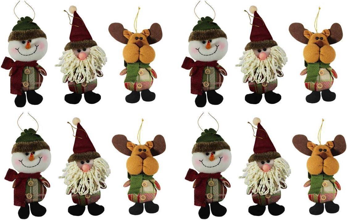 Sleetly Plush Ornaments, Rustic Country Colors, Set of 12, (Snowman/Santa/Reindeer)