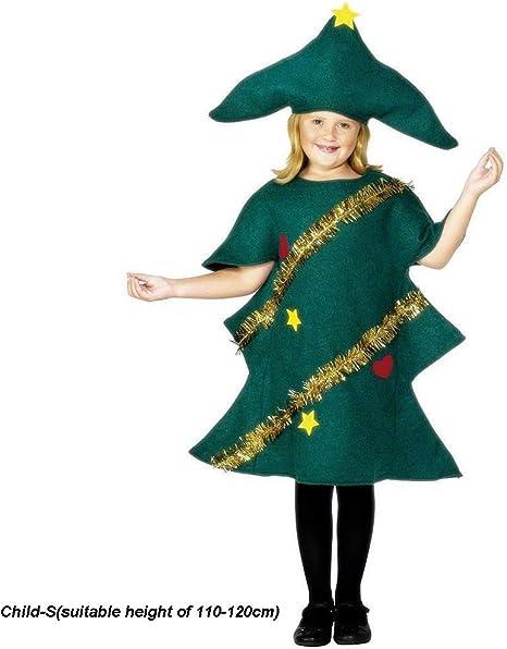JXILY Disfraz de Duende del árbol de Navidad - Vestido de Manga ...