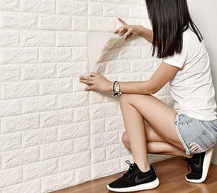 DODOING 20 Stück 60 x 60cm 3D Ziegelstein Wandaufkleber Selbstklebend Brick Muster Tapeten Wasserdicht Tapete in Backsteinopt