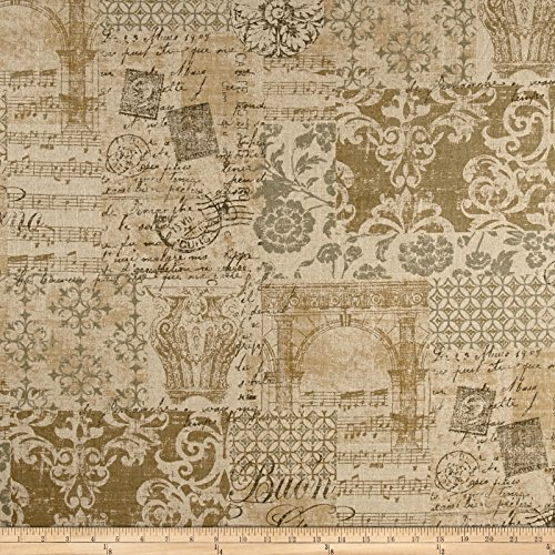 ermeil Linen Fabric By The Yard (Gold Vermeil Accents)