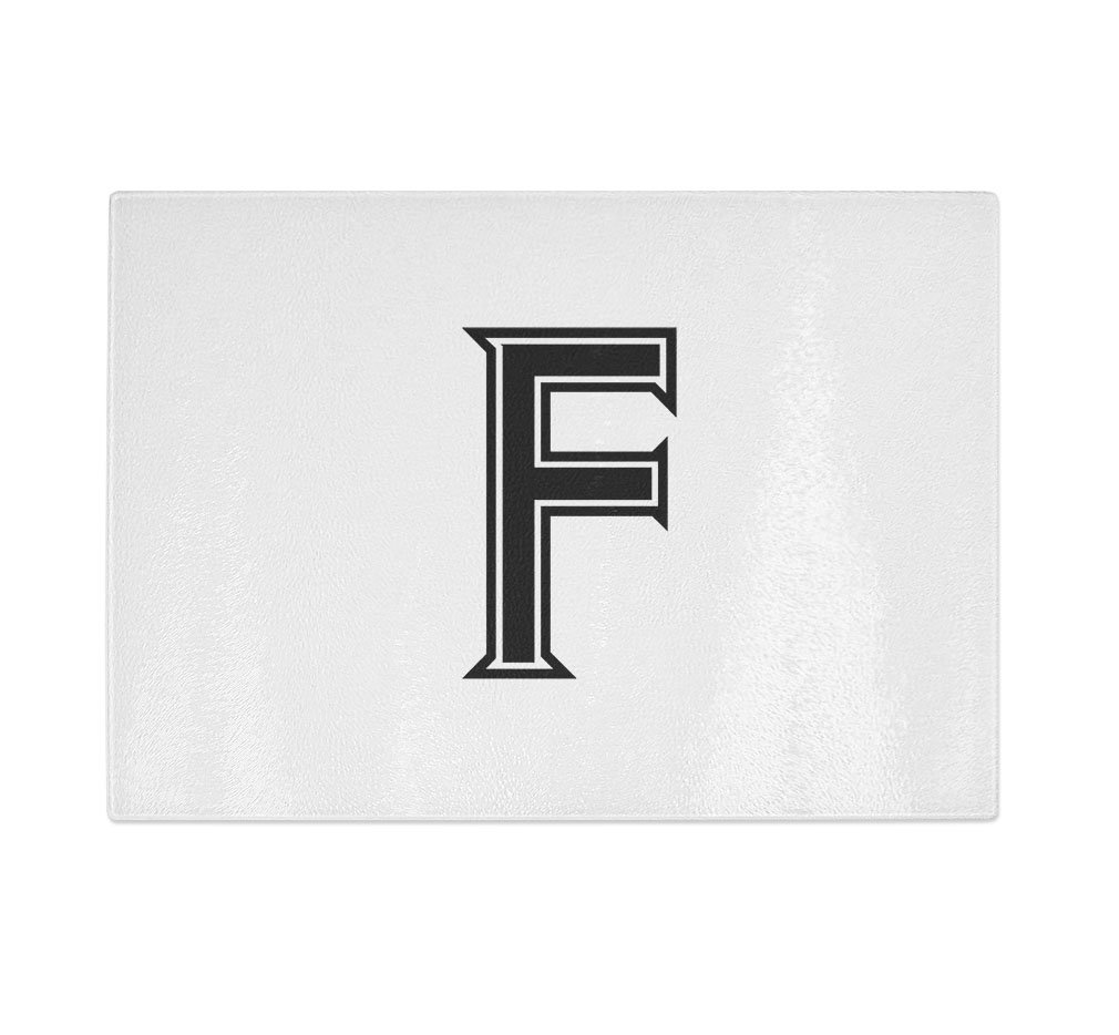 ''F '' College Font Initial Monogram Letter F Kitchen Bar Glass Cutting Board - 11 in x 16 in