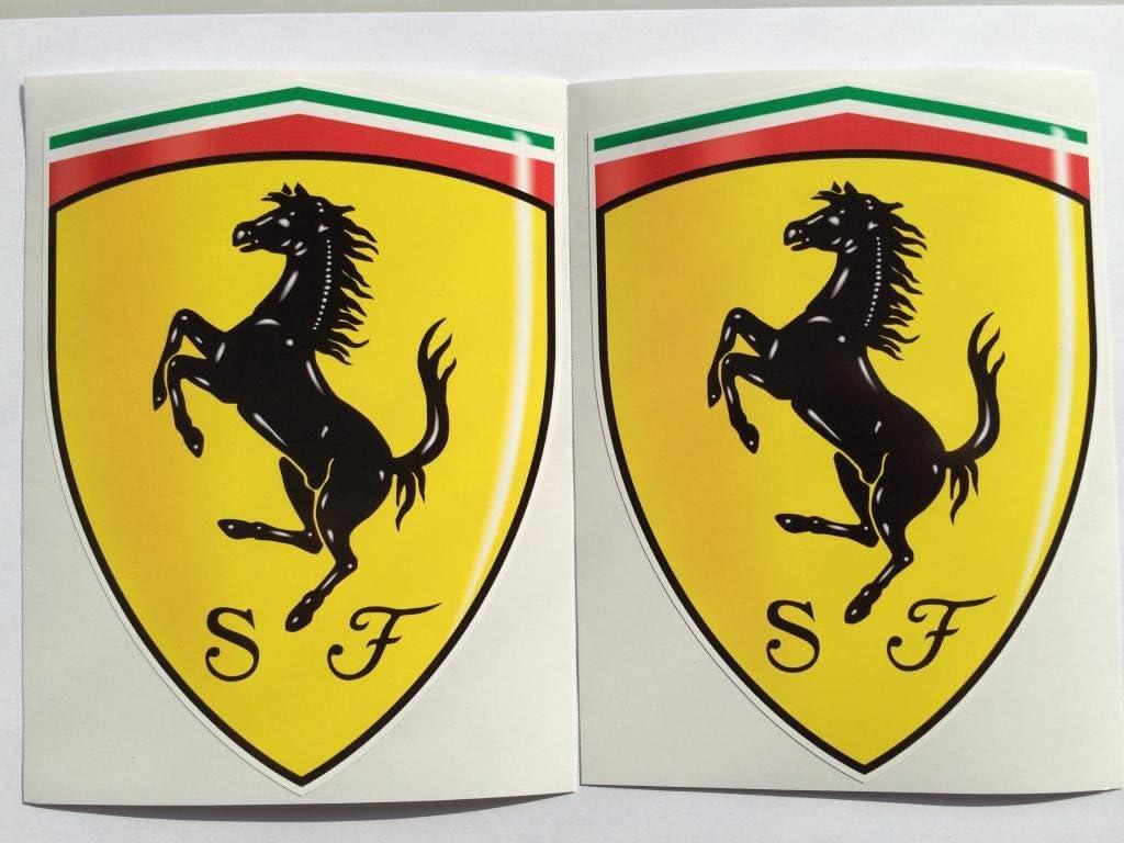 2 Ferrari Shield Hood Badge Die Cut Decals