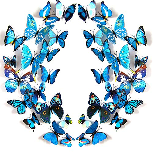 JYPHM 24PCS Butterfly Wall Decal Removable Refrigerator Magnets Mural Stickers 3D Wall Stickers for Kids Home Room Nursery Decoration Wall Art Blue