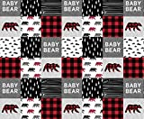 Baby Bear Fabric Baby Bear Patchwork Quilt Top || Buffalo Plaid by Littlearrowdesign Printed on Cotton Poplin Ultra Fabric by the Yard by Spoonflower