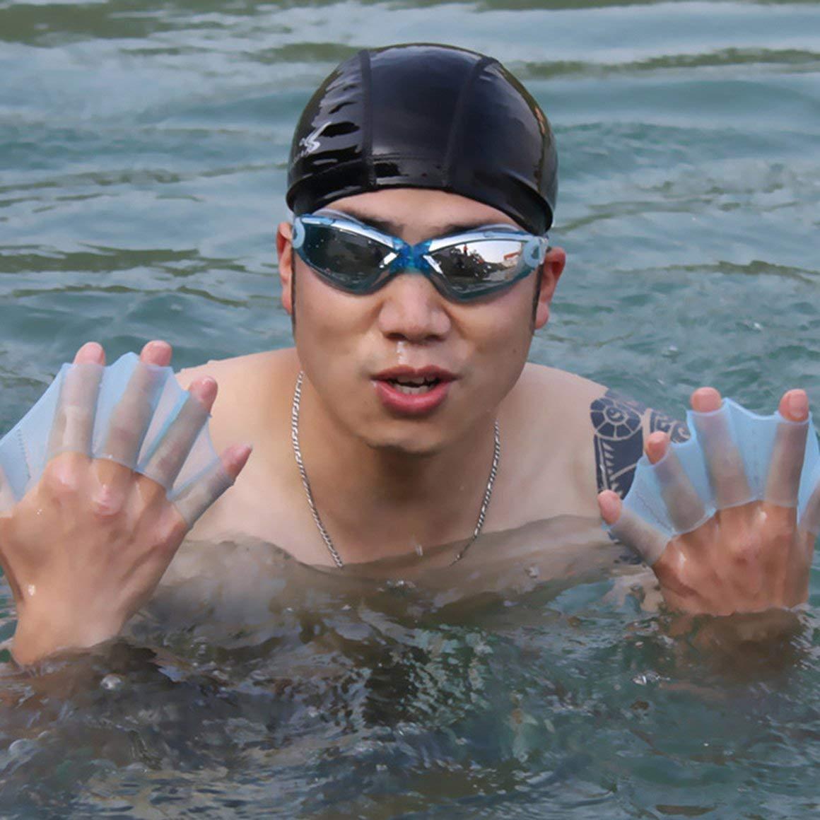Funnyrunstore 1 par Hombres Adultos Silicona Suave Aletas de nataci/ón Aletas Rana Mano Nadar palmada Guante Multi tama/ño Entrenamiento Paleta Buceo /útil