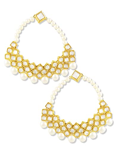Kundan and Pearl Hoops Women's Earrings at amazon