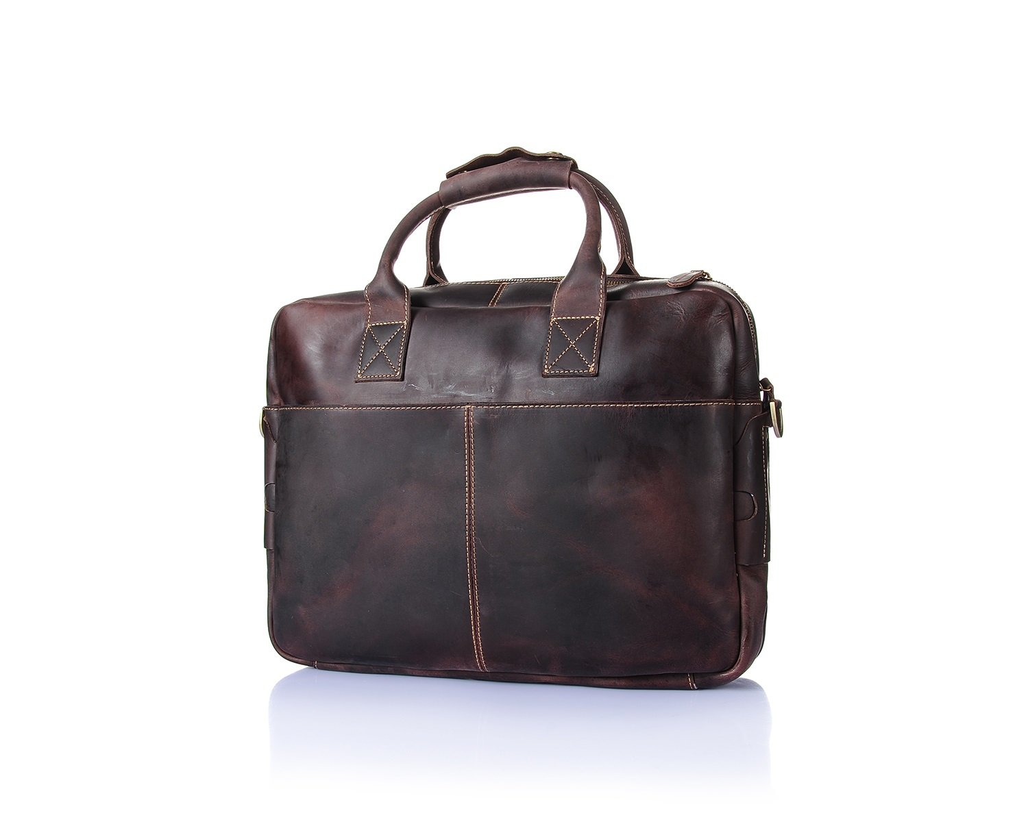 MUMUWU Men's Messenger Handbags Retro Crazy Horse Skin Leather Laptop Bag Handbag Briefcase (Color : Brown, Size : L)