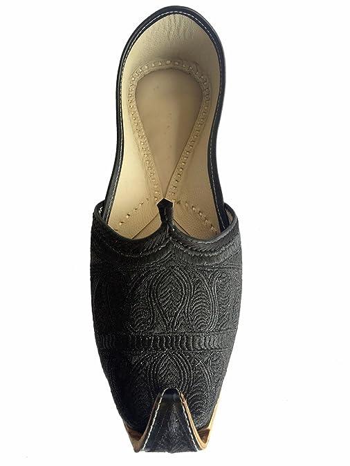 Step n Style Hombre Flat Full negro indio Khussa Zapatos Pakistani estilo Punjabi jutti, color Negro, talla 45