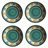 Melamine Dinner Plates - 10 1/2 inches for Dessert and Snack, Rustic Design- Set of 4