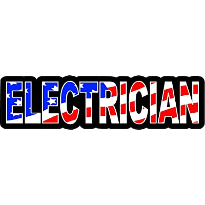 "3 - Electrician US Flag Hard Hat/Helmet Stickers 1"" x 2"" H139: Automotive"